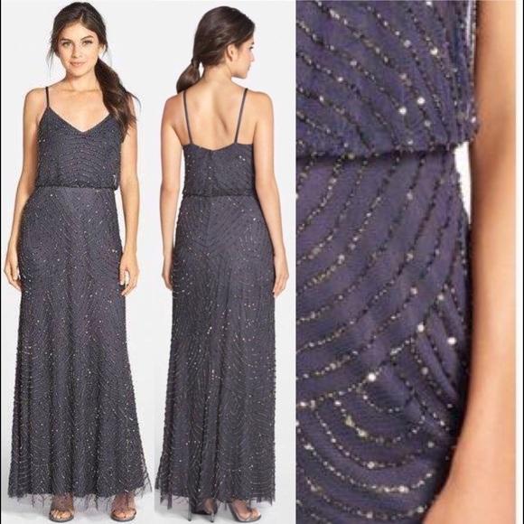 Adrianna Papell Dresses | Sz 2 Beaded Blouson Gown Gunmetal | Poshmark